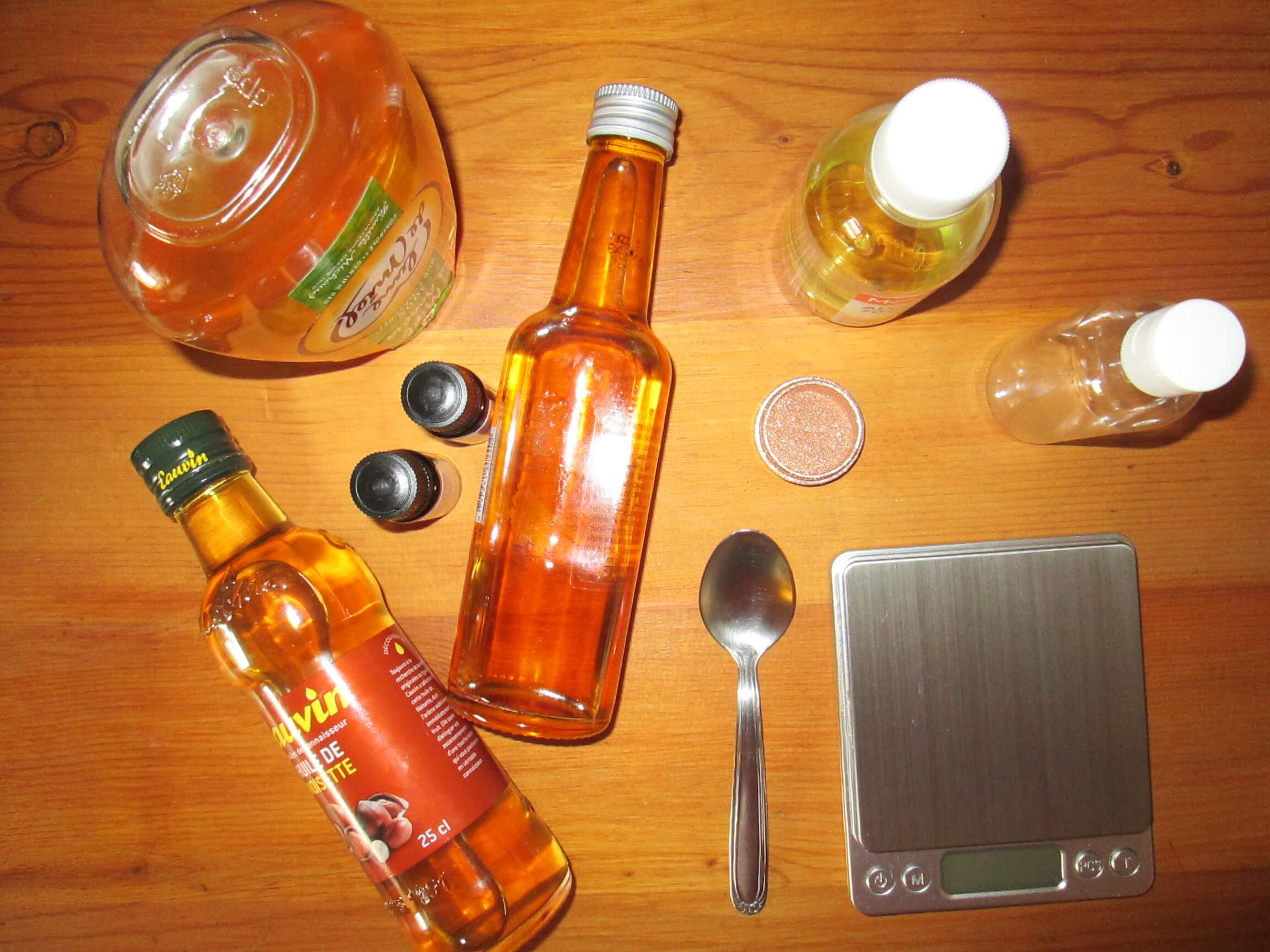 Ateliersdiy.fr - huile pailletée pour le corps - matériel